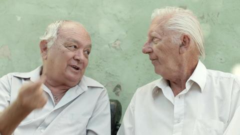 Two senior friends talking Footage