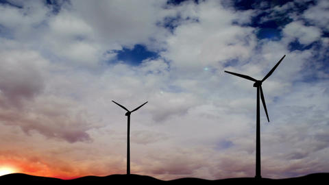 Windmill Generator Silhouette Timelapse stock footage