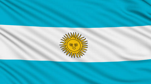 Argentinian flag, with real structure of a fabric Stock Video Footage