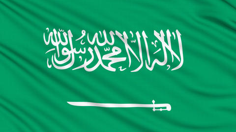 Saudi Arabia flag, with real structure of a fabric Animation