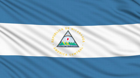Nicaragua flag, with real structure of a fabric Animation