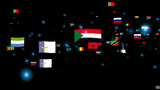 Flags of the World camera fly through black Animation