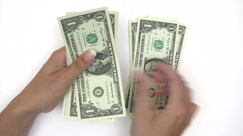 Counting Dollar Banknotes Footage