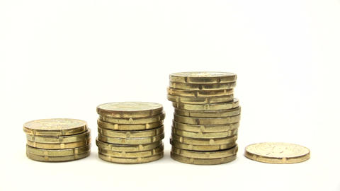 Stacks Of Euro Coins Footage