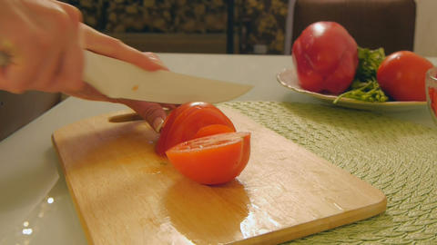 Cutting vegetables,tomato Footage