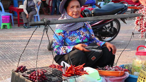 On The Market. Cambodia stock footage