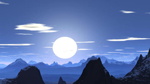 Blue sunset in the mountains Animation
