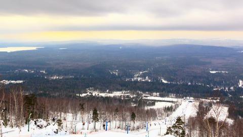 Panarama ski slope. Time Lapse Footage