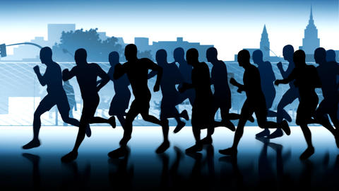 Runners-silhouettes. Marathon in city space Stock Video Footage