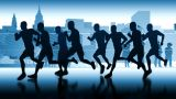 Runners-silhouettes. Marathon In City Space stock footage