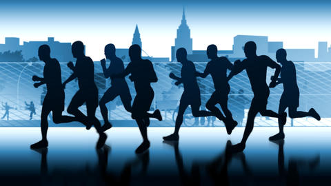 Runners-silhouettes. Marathon in city space Animation