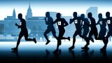 Silhouette Of Runners. Leader In Front Of The Group stock footage