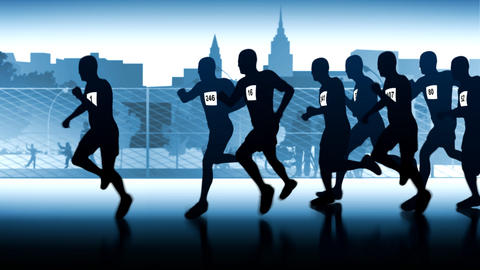 silhouette of runners. Leader in front of the group Animation