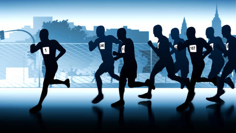 silhouette of runners. Leader in front of the group Stock Video Footage