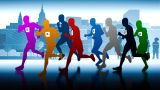 Colourful Runners. Silhouettes Of Running People stock footage