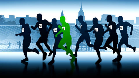 Green runner. Silhouettes of running people Animation