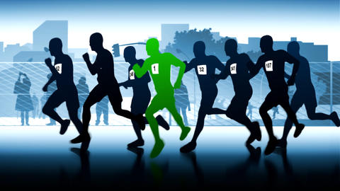 Green runner. Silhouettes of running people Stock Video Footage