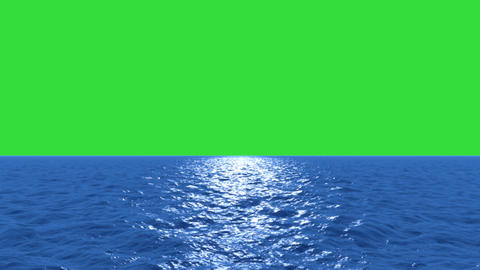 Water fly low with green screen Animation