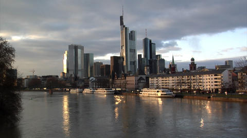 Frankfurt Germany Skyline w quick zoom Stock Video Footage