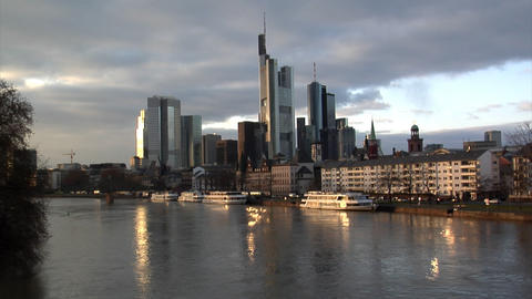 Frankfurt Germany Skyline w quick zoom Footage