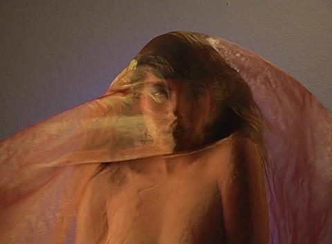 Beautiful Young Woman Covered with Fabric, Headshot Stock Video Footage
