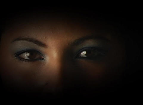 Beautiful, Mysterious Female Eyes, Slow Motion Stock Video Footage