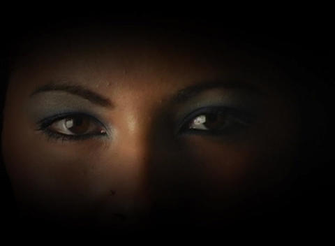 Beautiful, Mysterious Female Eyes, Slow Motion Footage