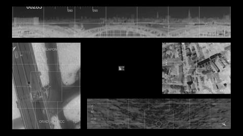 infrared Helicopter multi screen Stock Video Footage