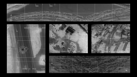 infrared Helicopter multi screen Footage