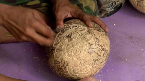 carve coconut hindu symbol Stock Video Footage