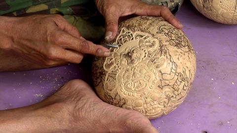 carve coconut hindu symbol Footage