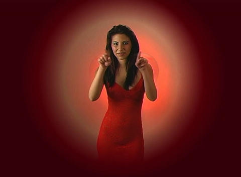 Beautiful Young Woman in Red Blows a Kiss with a Graphic... Stock Video Footage