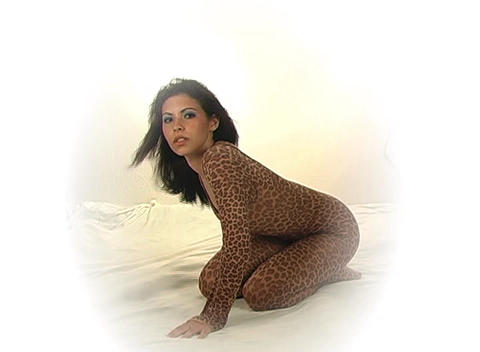 Sexy Young Woman in a Leopard Bodysuit Stock Video Footage