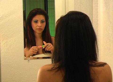 Beautiful Young Woman Applies Mascara 1 Stock Video Footage