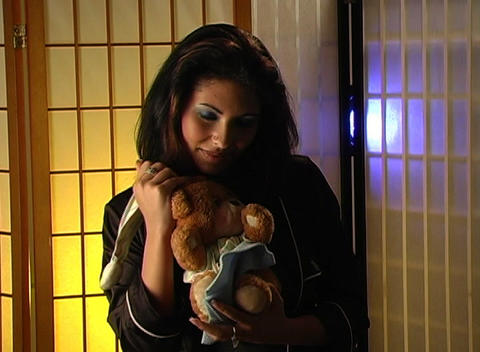 Beautiful Young Woman with a Teddy Bear 4 (close-u Stock Video Footage