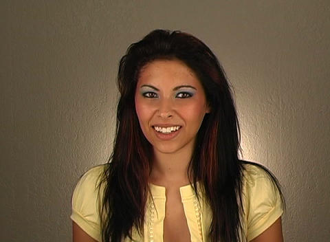 """Beautiful Young Woman Shakes her Head """"Yes"""" (2) Stock Video Footage"""