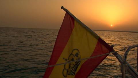 spanish flag at sundown Live Action
