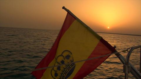 spanish flag at sundown Stock Video Footage