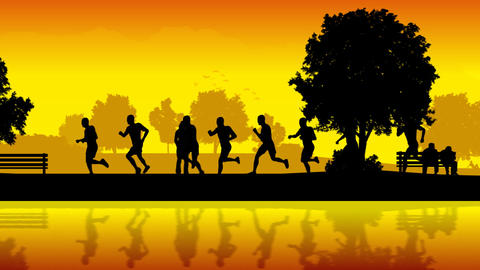 Marathon runners. Silhouettes of running people CG動画素材
