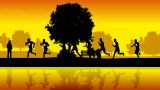 Runners In The Park stock footage