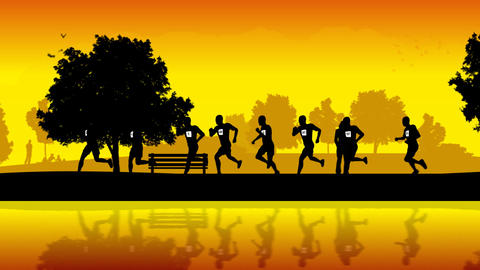 runners in the park Stock Video Footage
