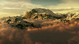 (1143) Snow Mountain Winter Wilderness Clouds Climbing Peaks Sunset Animation
