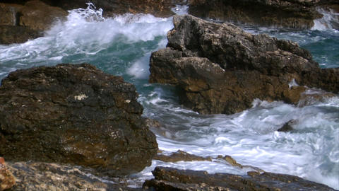 big rough coastal waves audio Stock Video Footage
