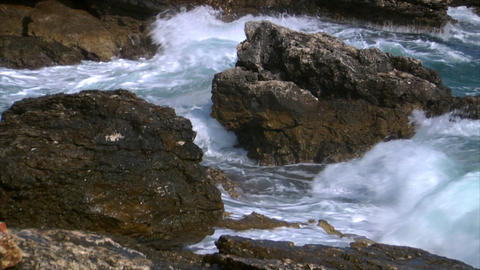 big rough coastal waves slowmo Stock Video Footage