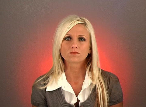"""Beautiful Blonde Shakes Her Head """"No"""" (2) Stock Video Footage"""