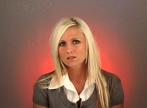 "Beautiful Blonde Shakes Her Head ""No"" (2) Stock Video Footage"