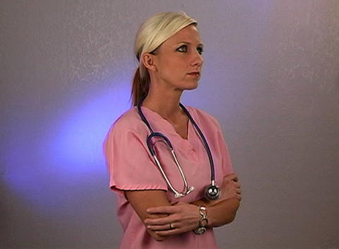 Beautiful Blonde Nurse with a Stethoscope (2) Stock Video Footage