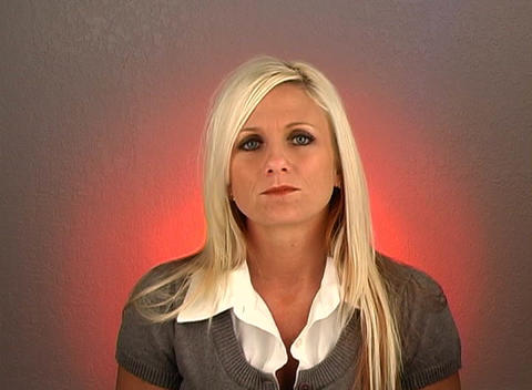 """Beautiful Blonde Shakes Her Head """"Yes"""" (1) Stock Video Footage"""