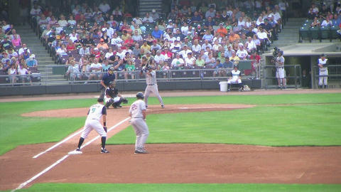 Baseball Out At First Base 02 Stock Video Footage