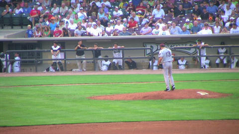 Pitcher Delivers Ball Stock Video Footage